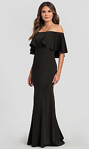 Image of off-the-shoulder bridesmaid long popover dress. Style: KL-200017 Front Image