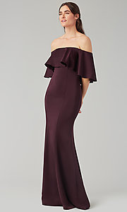 Image of off-the-shoulder bridesmaid long popover dress. Style: KL-200017 Detail Image 5