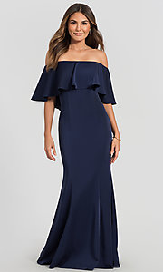 Image of off-the-shoulder bridesmaid long popover dress. Style: KL-200017 Detail Image 6