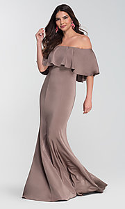 Image of off-the-shoulder bridesmaid long popover dress. Style: KL-200017 Detail Image 7