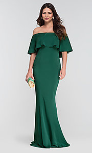 Image of off-the-shoulder bridesmaid long popover dress. Style: KL-200017 Detail Image 1