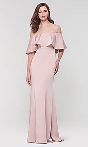 Image of off-the-shoulder bridesmaid long popover dress. Style: KL-200017 Detail Image 2