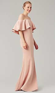 Image of off-the-shoulder bridesmaid long popover dress. Style: KL-200017 Detail Image 4