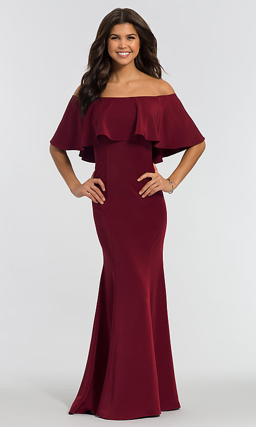 Image of off-the-shoulder bridesmaid long popover dress. Style: KL-200017 Detail Image 3