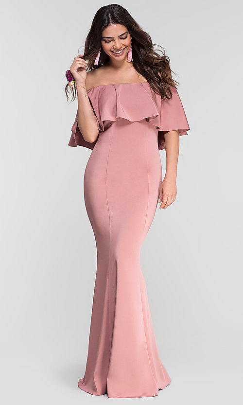 Image of off-the-shoulder bridesmaid long popover dress. Style: KL-200017 Detail Image 8