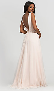 Image of long tulle formal a-line bridesmaid dress. Style: KL-200008 Detail Image 5