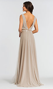 Image of long tulle formal a-line bridesmaid dress. Style: KL-200008 Back Image