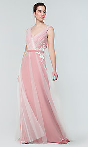 Image of long tulle formal a-line bridesmaid dress. Style: KL-200008 Detail Image 6