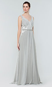 Image of long tulle formal a-line bridesmaid dress. Style: KL-200008 Detail Image 7