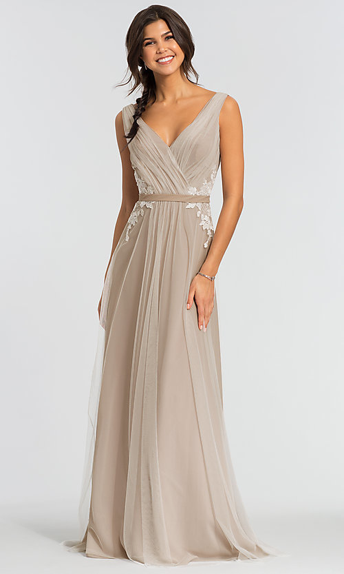 Image of long tulle formal a-line bridesmaid dress. Style: KL-200008 Front Image