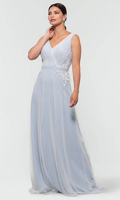 Image of long tulle formal a-line bridesmaid dress. Style: KL-200008 Detail Image 3