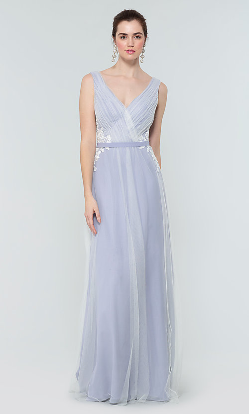 Image of long tulle formal a-line bridesmaid dress. Style: KL-200008 Detail Image 8
