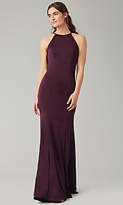 Image of simple long bridesmaid dress with train. Style: KL-200019 Detail Image 7