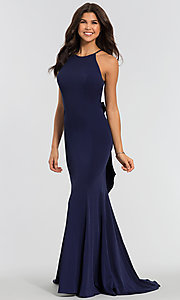 Image of simple long bridesmaid dress with train. Style: KL-200019 Detail Image 4