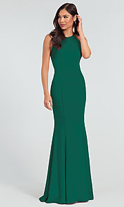 Image of simple long bridesmaid dress with train. Style: KL-200019 Detail Image 5