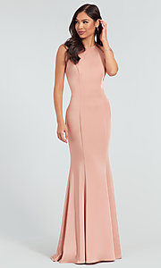 Image of simple long bridesmaid dress with train. Style: KL-200019 Front Image
