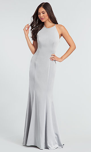 Simple Long Bridesmaid Dress with Train