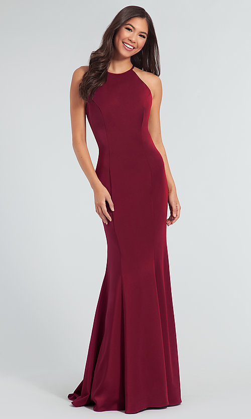 Image of simple long bridesmaid dress with train. Style: KL-200019 Detail Image 8