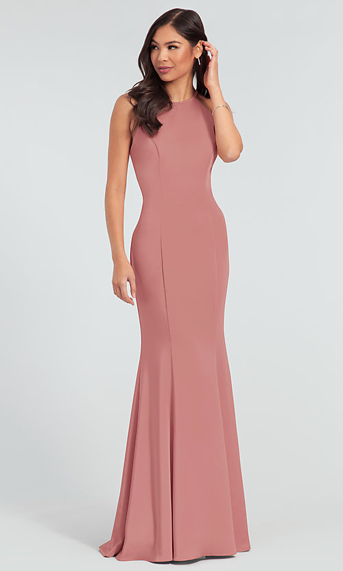 Image of simple long bridesmaid dress with train. Style: KL-200019 Detail Image 3