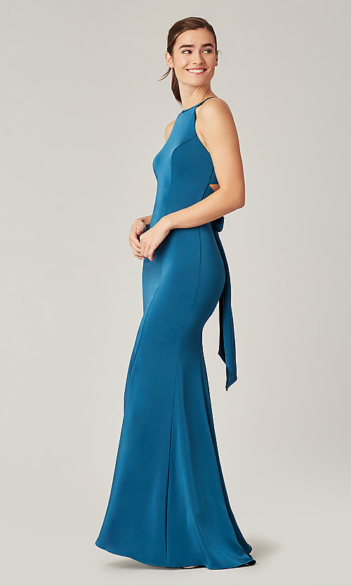 Image of simple long bridesmaid dress with train. Style: KL-200019 Detail Image 1