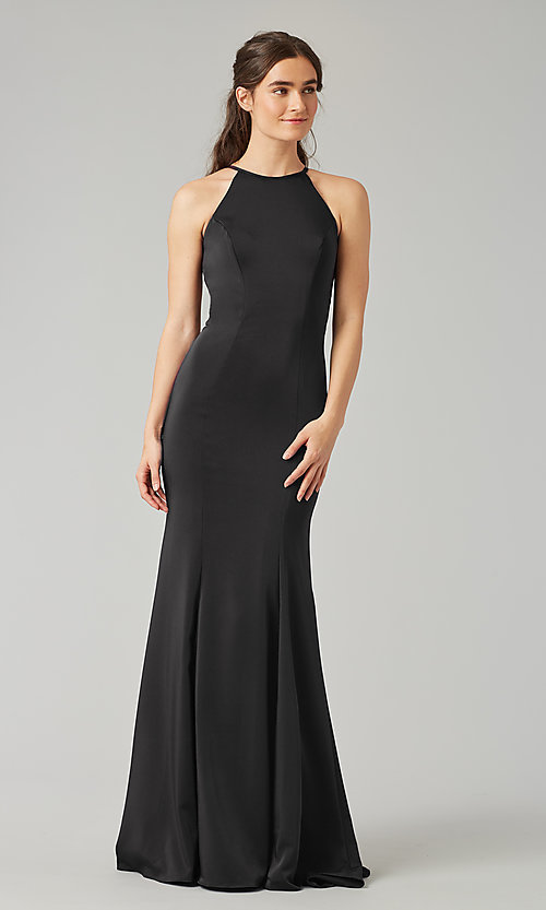 Image of simple long bridesmaid dress with train. Style: KL-200019 Detail Image 6