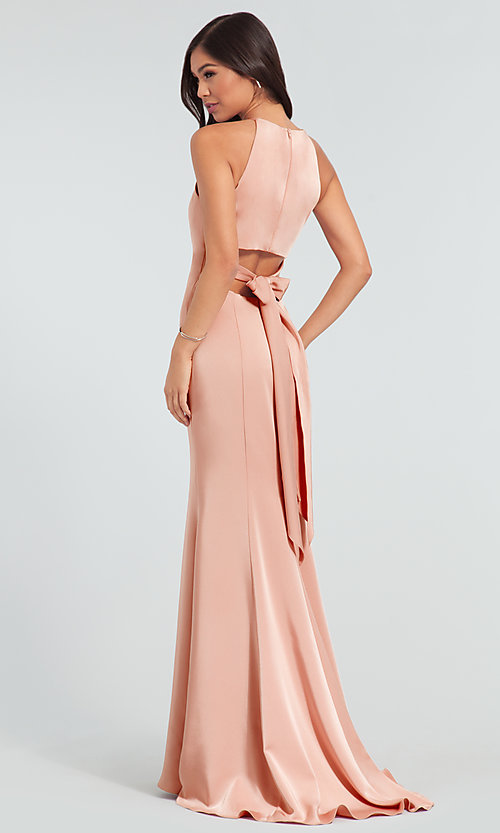 Image of simple long bridesmaid dress with train. Style: KL-200019 Back Image