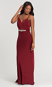 Image of Kleinfeld long bridesmaid dress with jewel accents. Style: KL-200020 Detail Image 6
