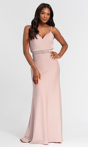 Image of Kleinfeld long bridesmaid dress with jewel accents. Style: KL-200020 Front Image