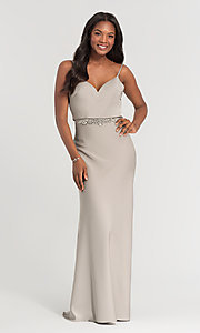 Image of Kleinfeld long bridesmaid dress with jewel accents. Style: KL-200020 Detail Image 3