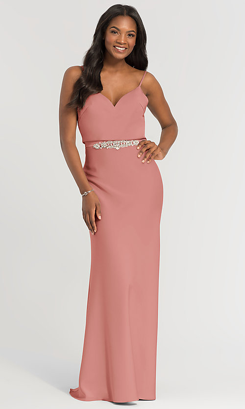 Image of Kleinfeld long bridesmaid dress with jewel accents. Style: KL-200020 Detail Image 8