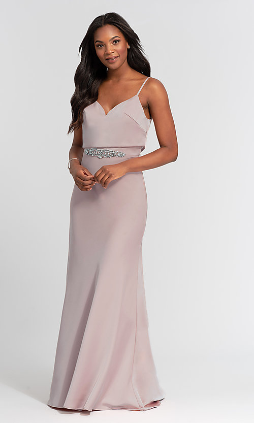 Image of Kleinfeld long bridesmaid dress with jewel accents. Style: KL-200020 Detail Image 7