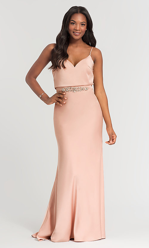 Image of Kleinfeld long bridesmaid dress with jewel accents. Style: KL-200020 Detail Image 1