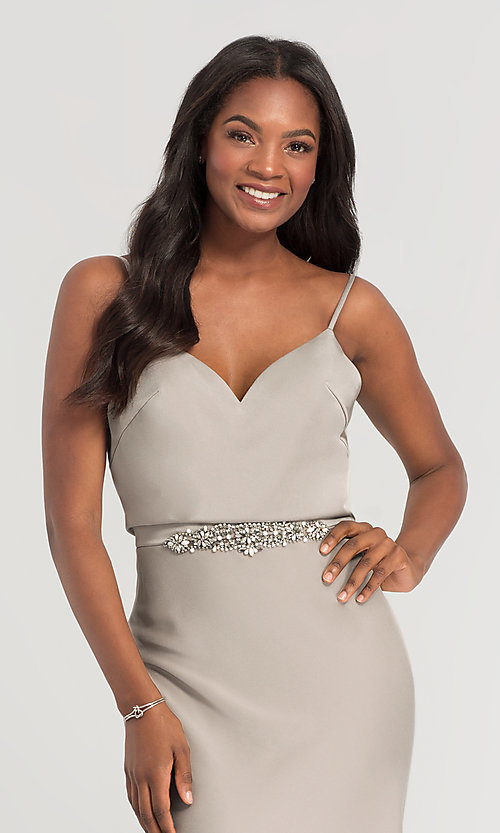 Image of Kleinfeld long bridesmaid dress with jewel accents. Style: KL-200020 Detail Image 4