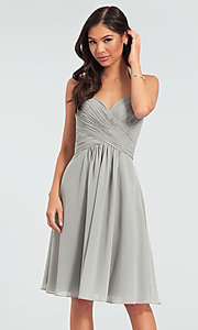 Image of halter short bridesmaid dress by Kleinfeld. Style: KL-200045 Detail Image 6