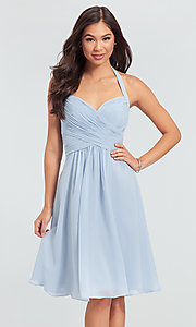 Image of halter short bridesmaid dress by Kleinfeld. Style: KL-200045 Front Image