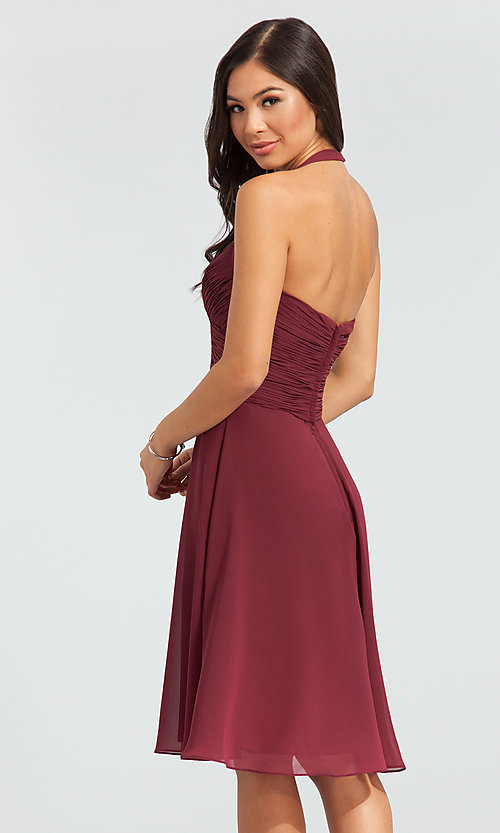 Image of halter short bridesmaid dress by Kleinfeld. Style: KL-200045 Back Image