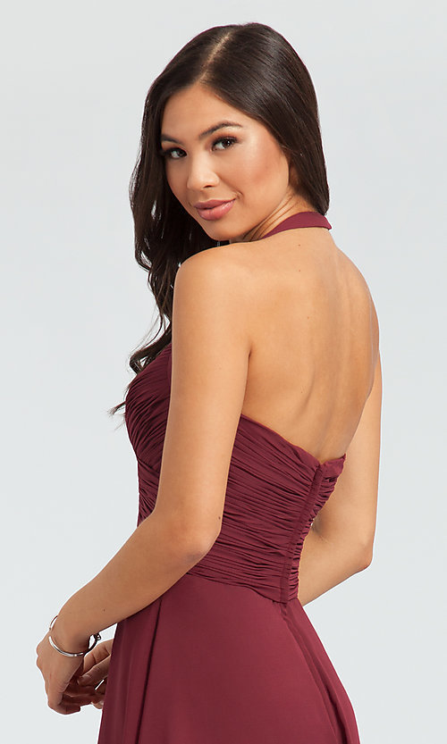 Image of halter short bridesmaid dress by Kleinfeld. Style: KL-200045 Detail Image 3