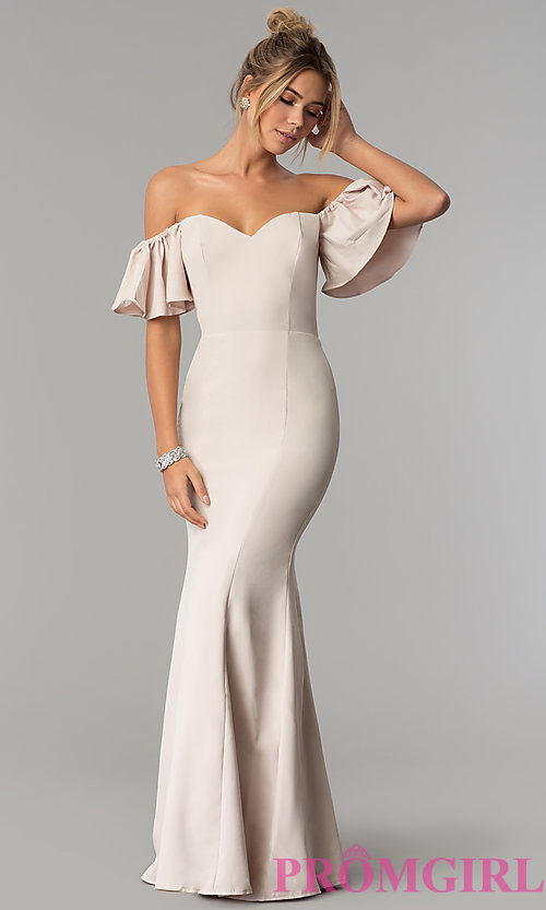 Image of long off-the-shoulder mermaid prom dress. Style: LP-27335 Detail Image 3