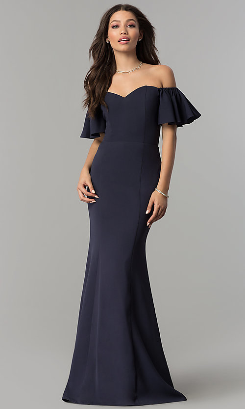 Image of long off-the-shoulder mermaid prom dress. Style: LP-27335 Front Image