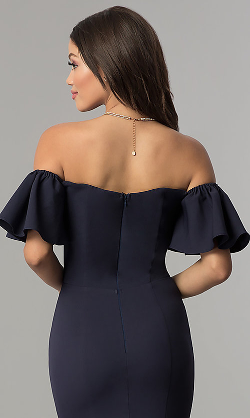 Image of long off-the-shoulder mermaid prom dress. Style: LP-27335 Detail Image 2