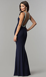 Image of open-back long navy blue prom dress with pearl trim. Style: LP-25043 Back Image