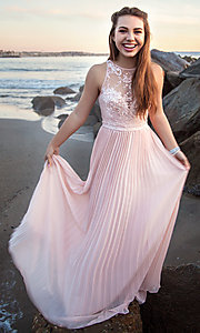 Image of long pleated-skirt chiffon prom dress with embroidery. Style: LP-24901 Front Image