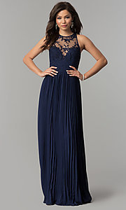 Image of long pleated-skirt chiffon prom dress with embroidery. Style: LP-24901 Detail Image 3