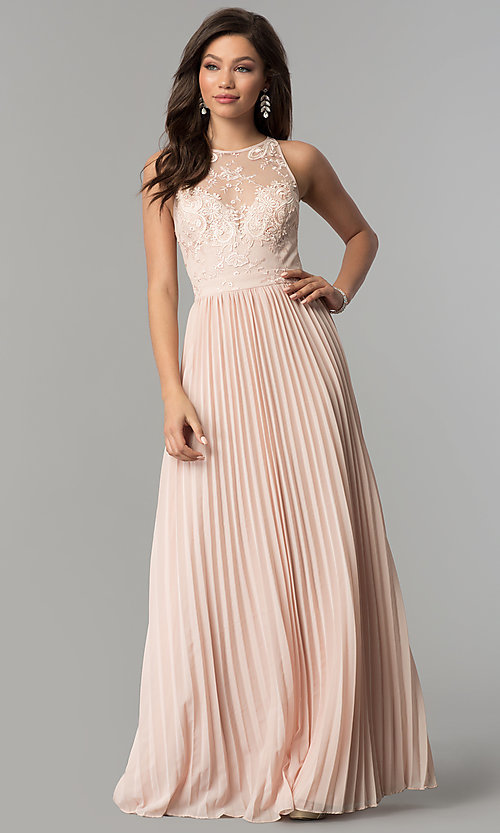 Image of long pleated-skirt chiffon prom dress with embroidery. Style: LP-24901 Detail Image 1