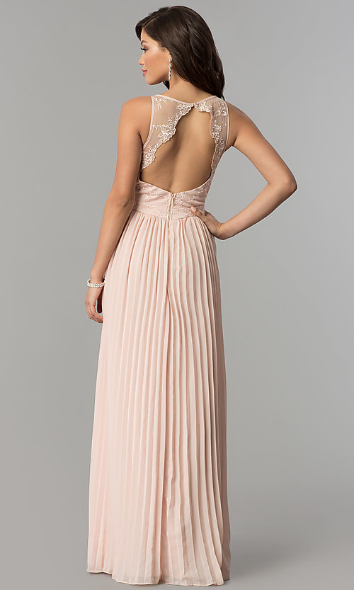 Image of long pleated-skirt chiffon prom dress with embroidery. Style: LP-24901 Back Image