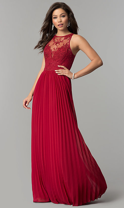 Image of long pleated-skirt chiffon prom dress with embroidery. Style: LP-24901 Detail Image 2