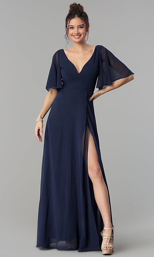 Image of a-line chiffon flutter-sleeve side-slit prom dress. Style: LP-25297 Front Image