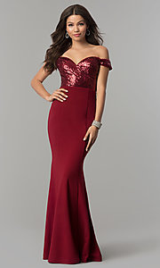 Off-the-Shoulder Prom Dress with Sequined Bodice