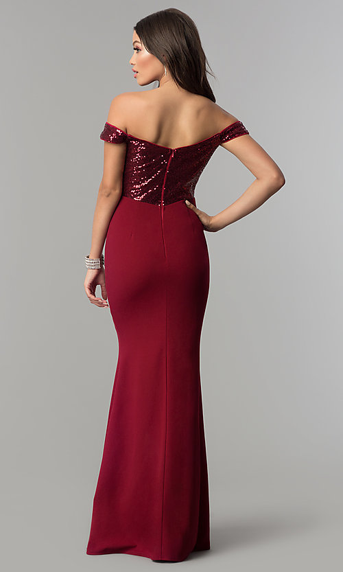Image of off-the-shoulder prom dress with sequined bodice. Style: LP-24985 Back Image