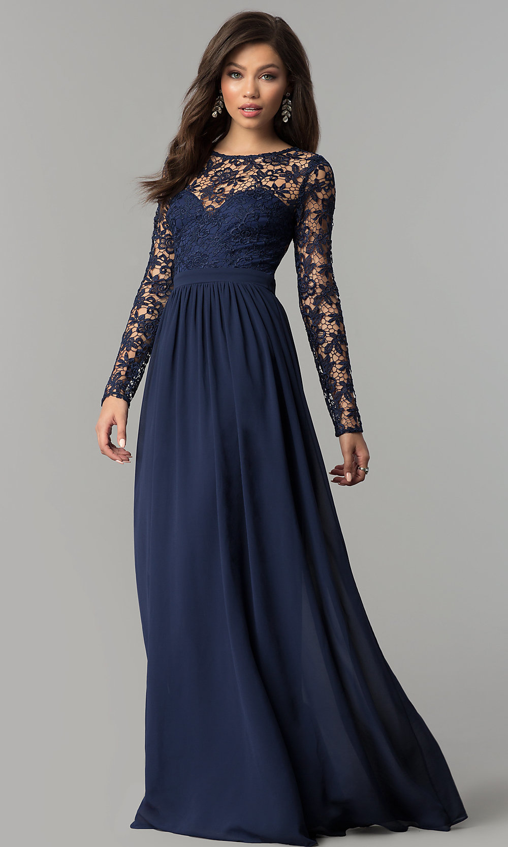 Chiffon and Lace Long-Sleeve Prom Dress- PromGirl